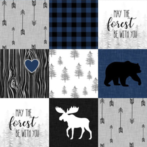 May the forest be with you//Navy - Wholecloth Cheater Quilt
