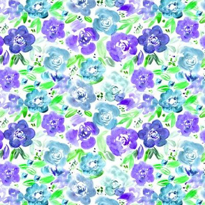 Watercolor pretty flowers in blue and purple