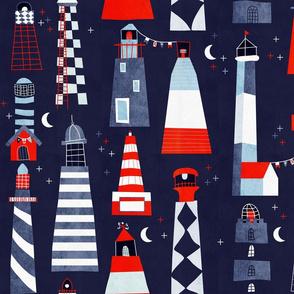 scandi lighthouses blue - large