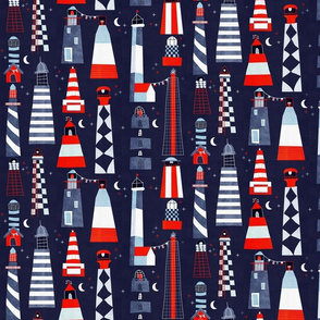 scandi lighthouses blue - small