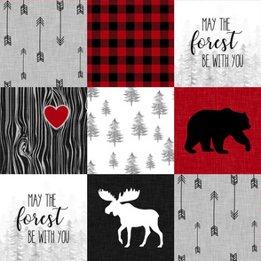 May The Forest be with you//Red - Wholecloth Cheater Quilt