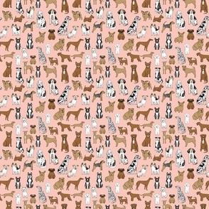 MINI - dogs // pink cute pets dog breed hand drawn illustration pastel pink girly dog print