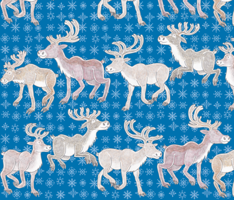Sniffing Reindeer - blue background fabric by bengarrybenross on Spoonflower - custom fabric