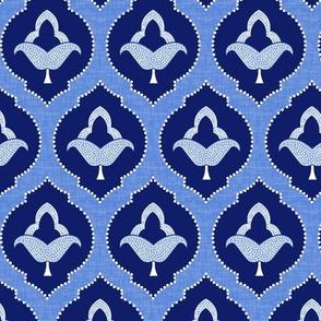 moroccan trellis blue - dark