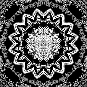 Mandala Project 846 | Black and White Medallion