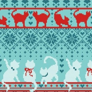 Festive Fair Isle Knitting Cats Love // small scale // teal background dark teal white and red kitties and details