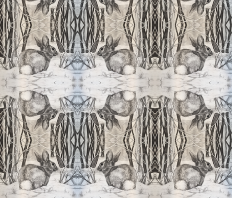 Eastern Cottontail Rabbit fabric by michelle_henning on Spoonflower - custom fabric