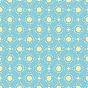 yellow circles on blue