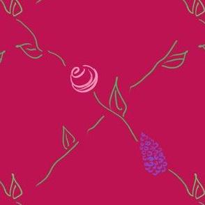 Lilac and Rose Lattice_Fuschia