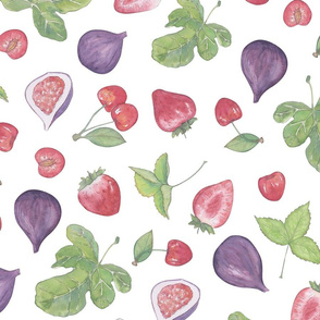 summer fruit scatter pattern on white large