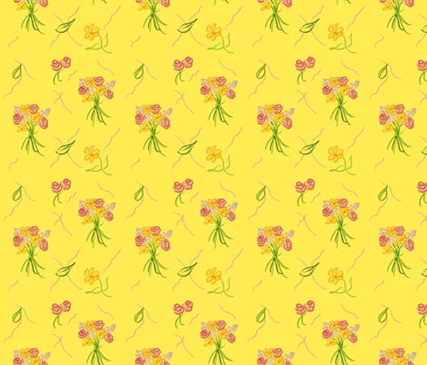 Dancing Bouquets__Bright! Yellow fabric by teawithxanthe on Spoonflower - custom fabric