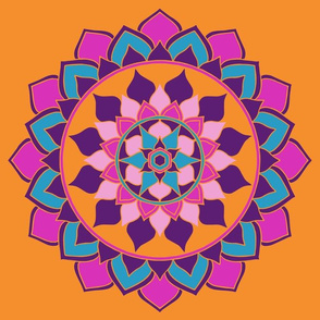 Mandala orange, pink, purple
