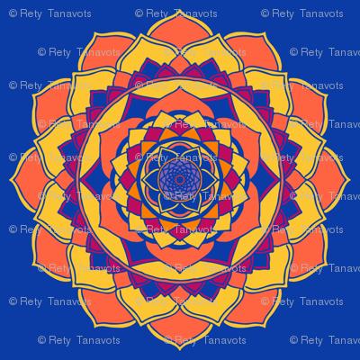 Mandala orange on royal blue