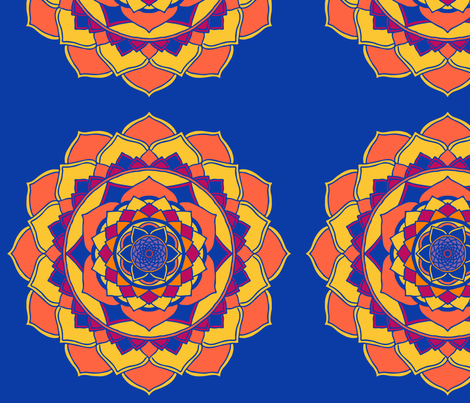 Mandala orange on royal blue fabric by mandala_flower on Spoonflower - custom fabric
