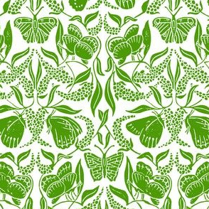 green linoprint butterflies