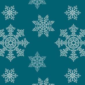 snowflakes on quetzal green