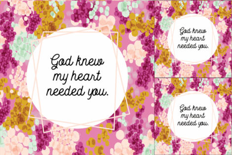 1 blanket + 2 loveys: god knew my heart needed you // champagne fizz on 75-13 fabric by ivieclothco on Spoonflower - custom fabric