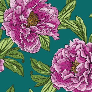 Pink Purple Peony Floral Seamless Pattern with Green Leaves on Dark Green Background