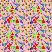 Secret Garden of Hearts & Hummingbirds-Pink