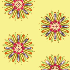 Zizzle Flowers on Buttery Yellow - Medium Scale