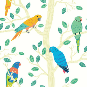 Parrot Birds in a Tree with leaves - Small birds Seamless Pattern