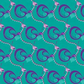 sixties shapes on turquoise - small