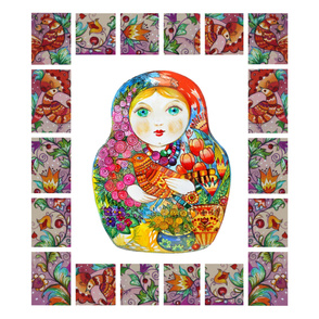 nesting doll for  56W fabric Panel for Throw Blanket