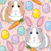 bunny guinea-pigs eggs and carrots-on-pink