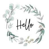 "Eucalyptus wreath hello cushions 17"" square"