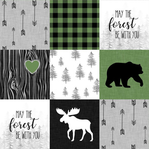 May the forest be with you//Green - Wholecloth Cheater Quilt