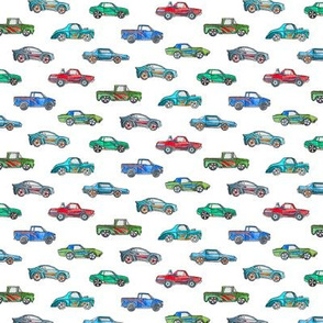 Tiny Toy Cars in Watercolor on Clean White