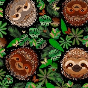 Cute sloths in the rainforest