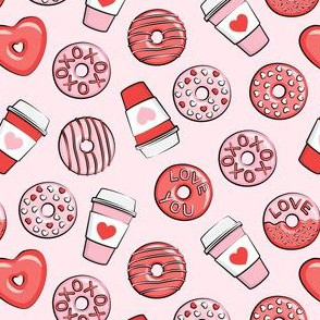 (small scale) donuts and coffee - valentines day - red and pink on pink