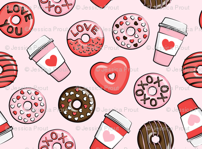 (small scale) donuts and coffee - valentines day - red, pink, & chocolate on pink