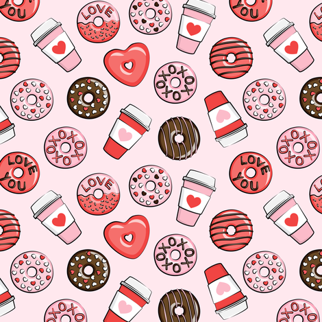 (small scale) donuts and coffee - valentines day - red, pink, & chocolate on pink fabric by littlearrowdesign on Spoonflower - custom fabric