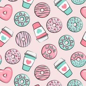 (small scale) donuts and coffee - valentines day - pink and teal on light pink