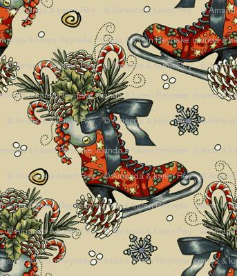 Vintage Christmas Ice Skate _ Snowflakes-ch