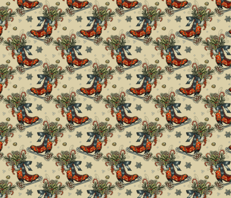Vintage Christmas Ice Skate _ Snowflakes-ch fabric by art_eclect_studio on Spoonflower - custom fabric