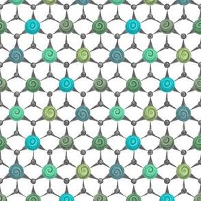 Dunkelgrün - hexagonal crystal - greens