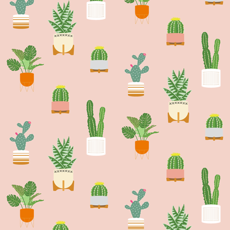 Pink Cactus Pattern fabric by dottedlinestudio on Spoonflower - custom fabric