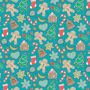 Christmas Xmas Holiday Gingerbread Man Cookies Winter Candy Treats on Aqua Blue Smaller