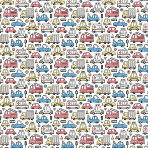 Cars Vehicles Doodle fabric Blue Red Yellow on White Tiny Small
