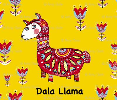 Dala Llama, large scale, colorful yellow red light blue black white