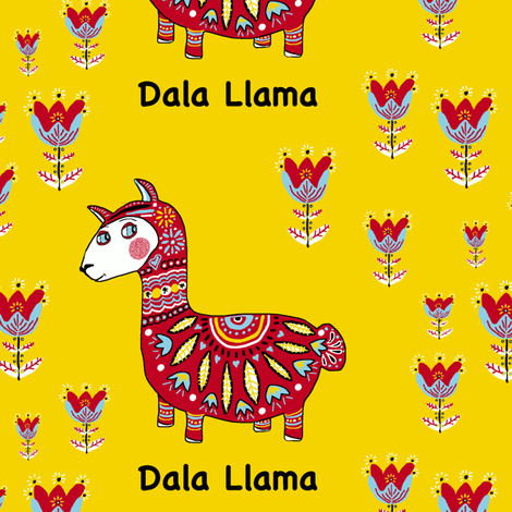 Dala Llama, large scale, colorful yellow red light blue black white fabric by amy_g on Spoonflower - custom fabric