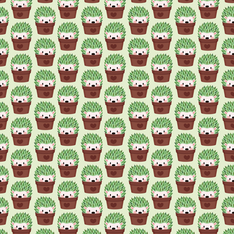Smallest Hedgehogs disguised as cactuses fabric by petitspixels on Spoonflower - custom fabric