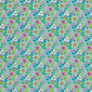 Garden Florals on Light Blue Tiny Small