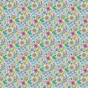 Garden Florals Blue Pink on White Tiny Small