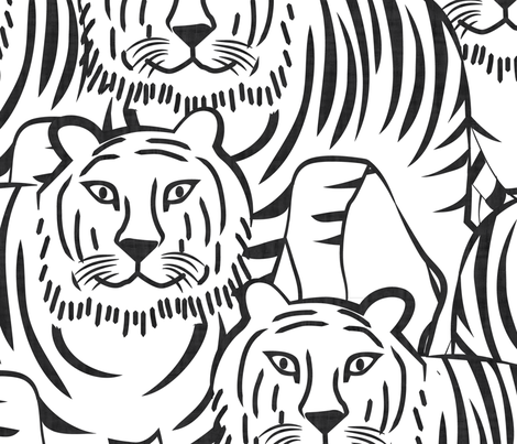 Just Tiger Black and White Jumbo Maxi Scale fabric by heyjunge on Spoonflower - custom fabric