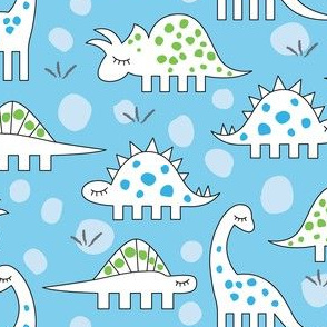assorted blue and green dinos on blue