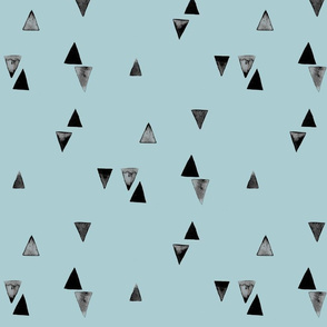 Watercolour Triangles on Blue